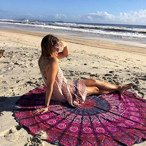 HCFKJ 2017 Mode Runde Hippie Strand Werfen Roundie Mandala Handtuch Yoga Matte BöHmische Lila