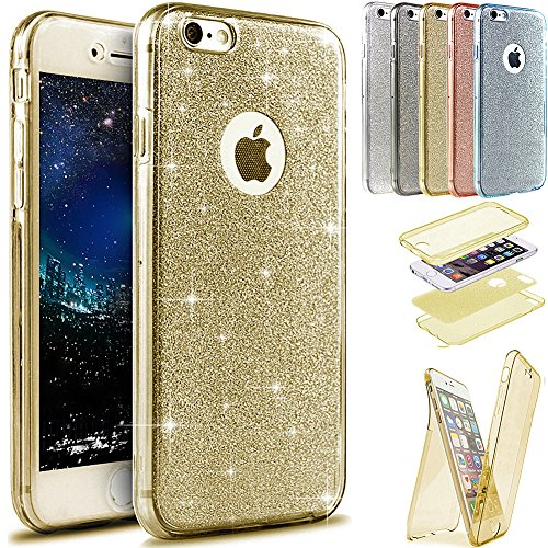Coque iPhone 6S Plus, Étui iPhone 6 Plus, iPhone 6S Plus / iPhone 6 Plus Case, ikasus® Coque iPhone 6S Plus / iPhone 6 Plus Étui de protection complet avant + arrière 360 degrés Étui en silicone soupl Or