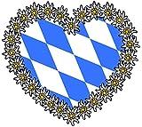 15x16 cm Auto Aufkleber I love Bayern Rauten Herz Edelweiss Sticker Motorrad Handy Laptop