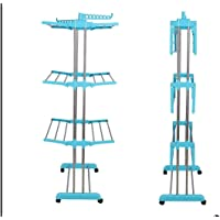 Windbird High Grade Stainless Steel 3 Layer Double Poll Modular Clothes Drying Stand/Rack With Movable Wheels (Blue)