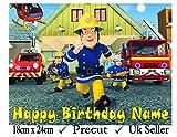 Von Feuerwehrmann Sam inspirierter Tortenaufsatz aus essbarer Zuckerglasur, vorgeschnitten, 3. Rectangle 24cm x 18cm