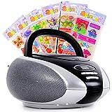 Lecteur laser CD radio noir portable AUX-IN autocollants musique son enfants