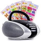 Musikanlage CD Player Radio LCD Anzeige tragbar im Set inklusive Puffy Aufkleber