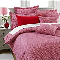 Great Knot 150 Thread Count Easy care Pillowcases Gingham Check 40 x 80 cm, Red