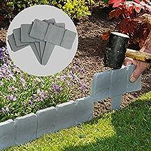 Pukkr Bordi per giardini effetto pietra grigia 5 metri | Confinare con le piante | Hammer In Cobblestone Garden Border | Aiuola & erba | 20 pezzi (5m)