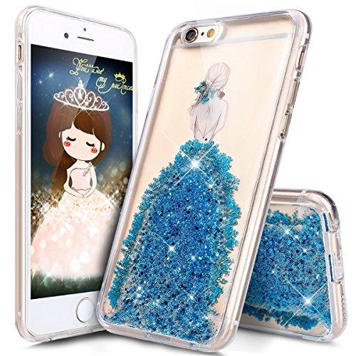 iPhone 6S Cover,iPhone 6 Custoida,KunyFond Cover Custodia per iPhone 6/6S 4.7 in Silicone Diamante Bling Glitter Custodia Cover Moda Lusso Orso Bello Lovely Specchio con Anello Supporto Scintilla Scin blu