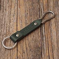 Grünes Leder Schlüsselanhänger personifiziert mit Monogramm, Wunschname Ringhalter Klammer Schlüssel graviertes personalisiertes Geschenk