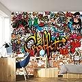 Fototapete Graffiti 366 x 254 cm Kinderzimmer Steinwand bunt Jungen Grafitti Tapete inklusiv Kleister livingdecoration