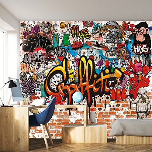 fototapete kinderzimmer jungen livingdecoration Fototapete Graffiti 366 x 254 cm Kinderzimmer Steinwand bunt Jungen Grafitti Tapete inklusiv Kleister