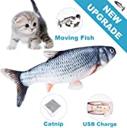 Bestmaple Moving Cat Kicker Fish Toy, Realistic Plush Simulation Electric Doll Fish USB Rechargeable, Funny Interactive Pets