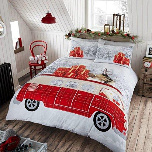 GoldStar® Santas Campervan Christmas Gifts Modern Duvet Cover Bedding Quilt Set, King
