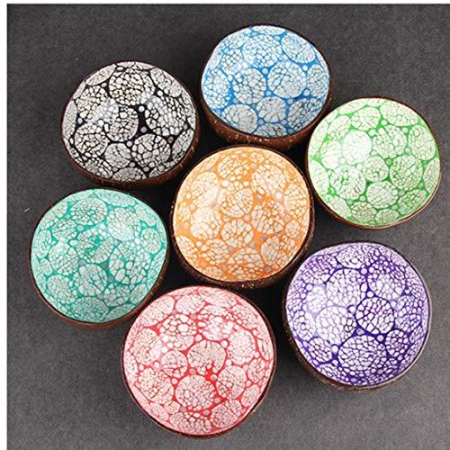 ureal Coconut Bowl Eco Friendly Suppe Salat Nudel Reis-Schüssel aus Holz Obstschalen Handwerk Kunstwerk Dekoration zufällige Farbe ()