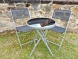 UK-Gardens Bistro-Set für 2, 1Tisch und 2Stühle–aus schwarzem, wetterfestem Textolin