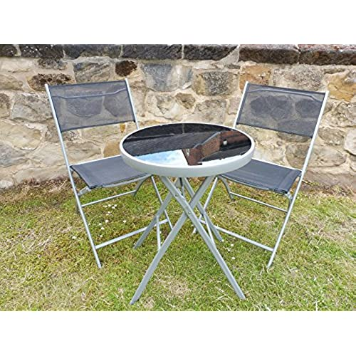 UK Gardens 3 Piece Bistro Set For 2   Folding Garden Patio Set For 2 With 1  Table And 2 Chairs   Black Weatherproof Textoline