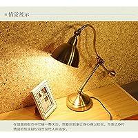 BBSLT Americano rame lampada lusso continentale camera da letto lampada da comodino dimmer studio villaggio ferro battuto occhio vintage lampada da tavolo , button switch