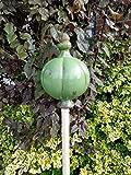 Große Gartenkugel aus Keramik - grün 25x16 cm - Rosenkugel - Gartenstecker - Shabby Chic