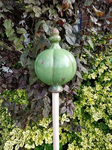 Manufaktur-Lichtbogen Große Gartenkugel aus Keramik grün - Rosenkugel für den Garten