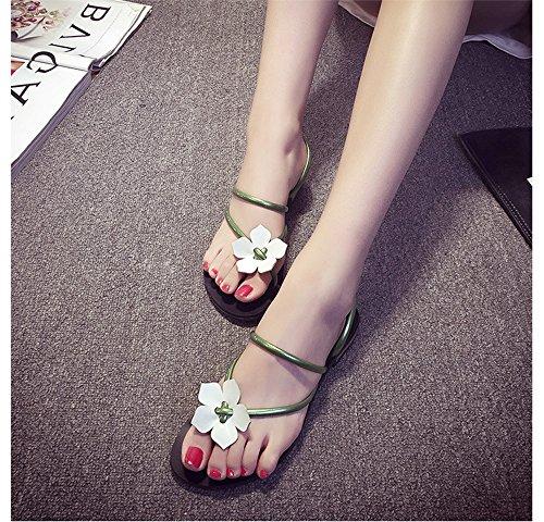 Dayiss Mädchen Damen Blumen Flache Sandalen Flip-Flops Strandschuhe Sommer Grün