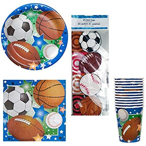 03 Sports Theme Birthday or Team Party Kit Party Pack Supplies - Football, Baseball, Soccer, & Basketball, plates, napkins, cups, cello treat bags by DR