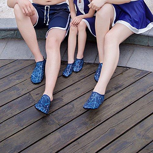 JACKSHIBO Unisex-Kinder Wasserschuhe Jungen Strandschuhe Aqua Schuhe Mädchen Schwimmschuhe Surfschuhe Badeschuhe Blau/B