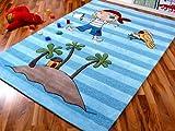 Lifestyle Kinderteppich Pirateninsel Blau in 3 Größen !!! Sofort Lieferbar