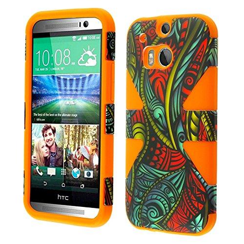 HRWIRELESS(tm) Schutzhülle für HTC One 2 M8 Dynamic, Seamless Antique Swirls/Orange