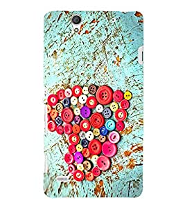 Colourful Buttons Heart 3D Hard Polycarbonate Designer Back Case Cover for Sony Xperia C4 Dual :: Sony Xperia C4 Dual E5333 E5343 E5363