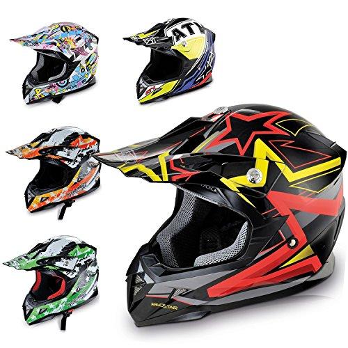 HECHT 55915 Motorrad-Helm Enduro ABS Quadhelm (XS (53 - 54 cm), schwarz / rot / gelb)