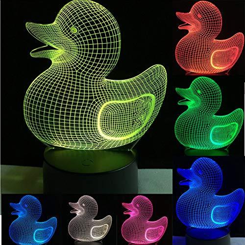 Mmzki No FrameKawaii Tier Gelbe Ente 3D Usb Led Lampe Kreative Pädagogische Kinder Spielzeug 7 Farben Ändern Nachtlicht Baby Badezimmer Dekor - Ente Frame