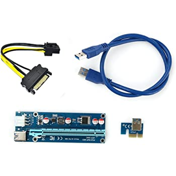 USB 3.0 PCI-E 1x to16x Extender Riser Card Adapter 6 pin Power Cable (60cm)