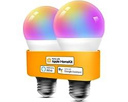 Refoss Bombilla LED Inteligente WiFi - Multicolor Regulable, Mando a distancia, 9W E27, 2700-6500 K, Compatible con Apple Hom