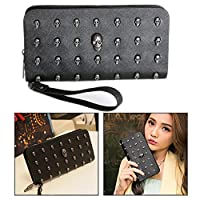 OFKPO Faux PU Leather Long Zipper Wallet Purse with Skull Plated for Women (Black)