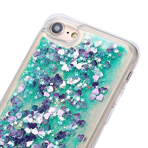 Cover per iPhone 7, Tpulling Custodia per iPhone 7 Case Cover Copertura ultra-sottile di cromo di lusso di Quicksand multi colore per il iPhone 7 4.7 pollici (Sky Blue) Green