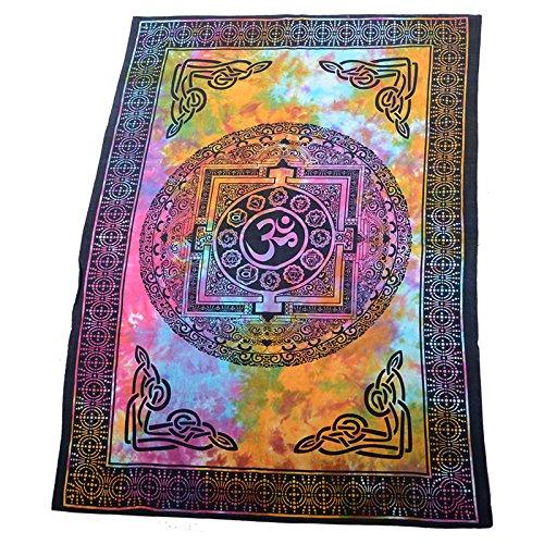 73 Kunst (Kunst und Magie Wandbehang Mandala - Om ca. 105 x 73 cm, Farbe:Mehrfarbig)