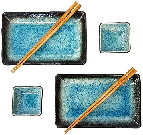 Happy Sales 6Stück Japanisches Sushi Teller Geschirr-Set, Blue Ocean -