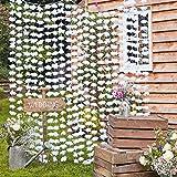 Blumen-Vorhang / Blüten-Vorhang aus weißen Stoff-Blüten-Blättern - Hochzeits-Deko / Party-Dekoration / Stoff-Girlande / Vorhang / Feier / Geburtstags-Deko- Maße ca. 1,80m H x 2,0m B