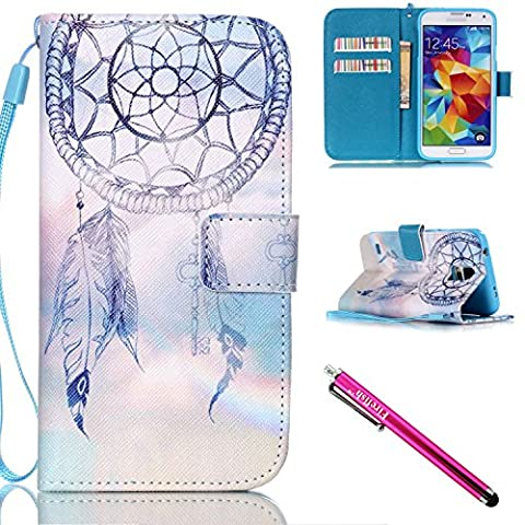 Galaxy S5 mini Hülle, Folio Cover Wallet im Bookstyle mit Standfunktion Karteneinschub und Magnetverschluß Etui für Samsung Galaxy S5 mini