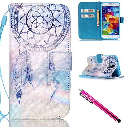 Galaxy S5 mini Hülle, Folio Cover Wallet im Bookstyle mit Standfunktion Karteneinschub und Magnetverschluß Etui für Samsung Galaxy S5 mini (SM-G800) (4 Filz X Fell)
