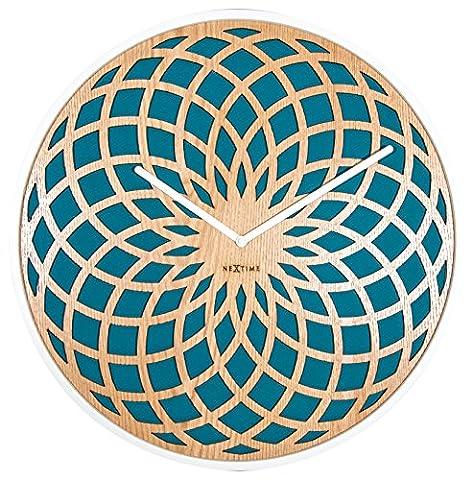 NexTime Sun Wall Clock, Wood, Turquoise, Large