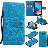 Ooboom® Samsung Galaxy A3 2016 Coque Motif Tournesol PU Cuir Flip Housse Étui Cover Case Wallet Pochette Support avec Porte-cartes pour Samsung Galaxy A3 2016 - Bleu
