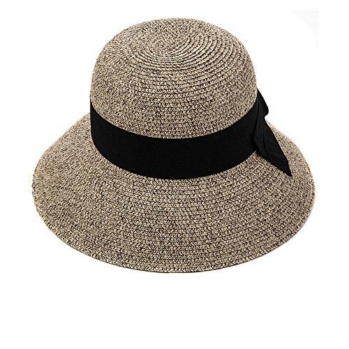eebraunmix Strandhut Sun Shade Hut Sonnenschutz mit breite Krempe für Damen (Breite Krempe Hut Braun)