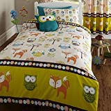 Woodland Creatures Owls Hoot Fox Kids Single Bed Duvet Quilt Cover Bedding Set