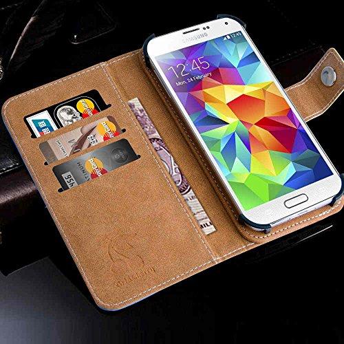 Apple iPhone 5 / 5s Handytasche mit Standfunktion , Geldfach und Gurthalterung Eule mit Reh