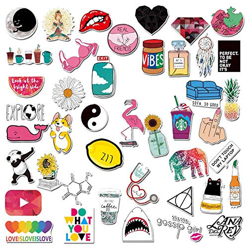 Stickers for Water Bottles Big 45 Pack, Cute, Aesthetic, Fashion, Funny Vinyl Waterproof Stickers, Water Bottles, Laptop, Bicycle, Skateboard for Teens, Girls, Adults