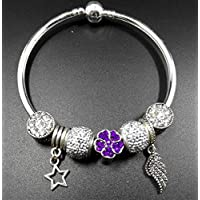 Upstudio Artesanía Decorativa Juguetes Regalos DIY Feather Key Glass Bead Bracelet (Purple)