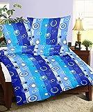 Genieße den Schlaf 4260216518942 Bettwäsche Set 135 x 200 cm, Seersucker aus 100% Baumwolle, türkis blau / grün gestreift