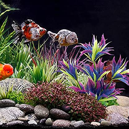 MIHOUNION 28.5cm Artificial Aquarium Plastic Plants Fish Tank Aquatic Ornaments Durable Realistic Tropical Vivarium… 4