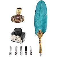 VBESTLIFE Classica Retro Fountain Feather Pen Dip Penna Stilografica Vecchio Stile Penna Set di Bottiglie d'Inchiostro…