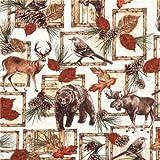Cremefarbener Stoff mit Hirschen, Bären, Elchen von