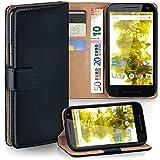 moex Motorola Moto G3 | Hülle Schwarz mit Karten-Fach 360° Book Klapp-Hülle Handytasche Kunst-Leder Handyhülle für Motorola Moto G 3. Generation Case Flip Cover Schutzhülle Tasche